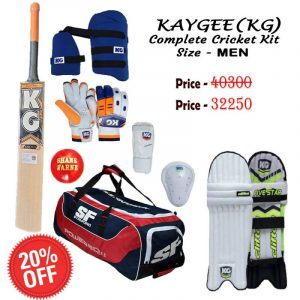 KG Professional Complete Cricket Kit, Premium Cricket Complete Kit. Thigh Guard, Arm Guard, Abdo & Chest Guard with English Willow Bat