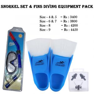 Good Quality Swimming Snorkel Set Scuba Mask With Fins & Nose Clip Ear Plugs, Best Swimming Item Buy Online Sports Store in Sri Lanka Get Doorstep.