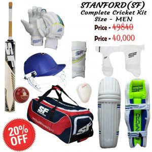 SF Professional Complete Cricket Kit, Premium Cricket Complete Kit. Thigh Guard, Arm Guard, Abdominal Guard with English Willow Bat