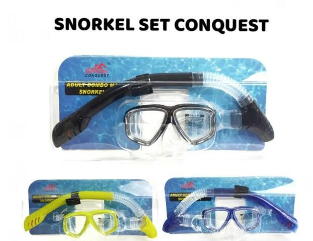 Silicone Underwater Scuba Diving Swim Snorkeling Mask and Snorkel Set. Made of high grade silicone & designed for viewing from all angles.